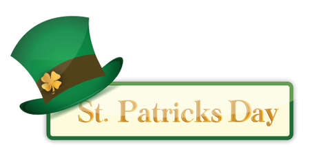 clover banner: St  Patrick s Day banners set with hat and clover illustration design over white Illustration