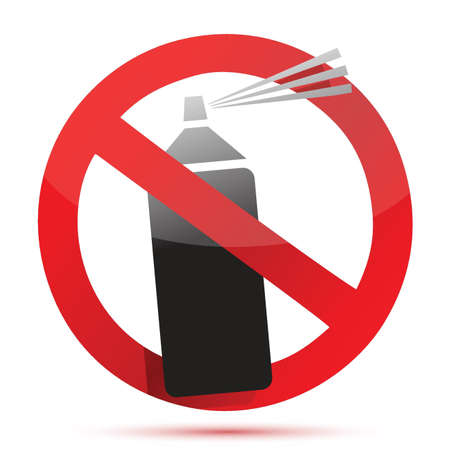 aerosol can: No Graffiti sign illustration graphic design over white Illustration