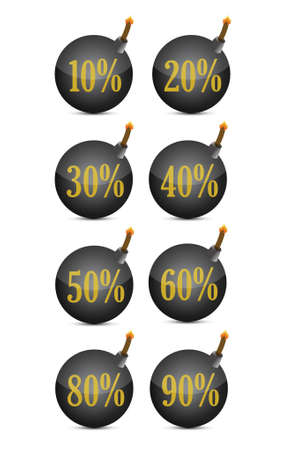 discount percentage bomb on a white background Illustration