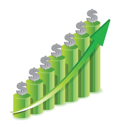 Money Icon Color Graph illustration design over white Illustration