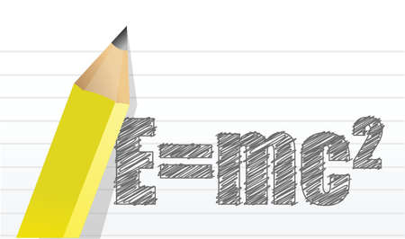e=mc2 illustration design over a notepad background Illustration