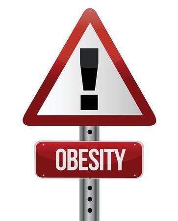 obesidad infantil: carretera señal de tráfico con un diseño obesidad ilustración del concepto Vectores