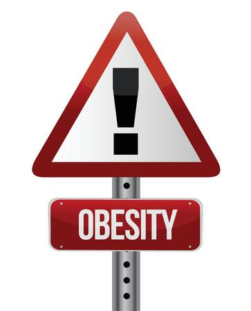 road traffic sign with an obesity concept illustration design Çizim