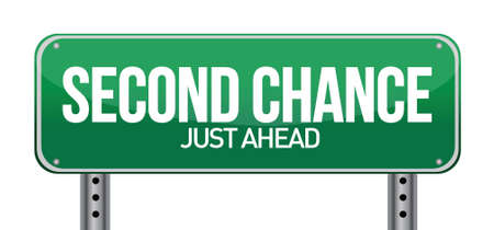 again: road sign with a second chance concept illustration design over white