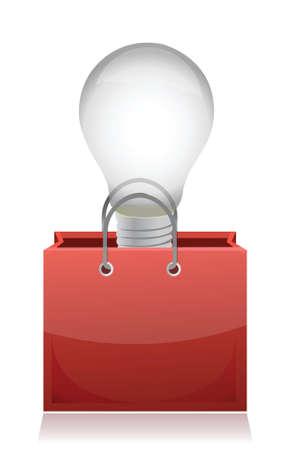 purchase: illustration of light bulb in red bag design over white