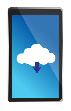 mobile phone with blue cloud computing icon illustration design over white