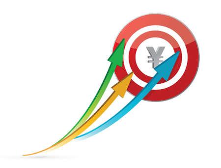 yen arrows pointing target illustration design over white Stock Vector - 16846203