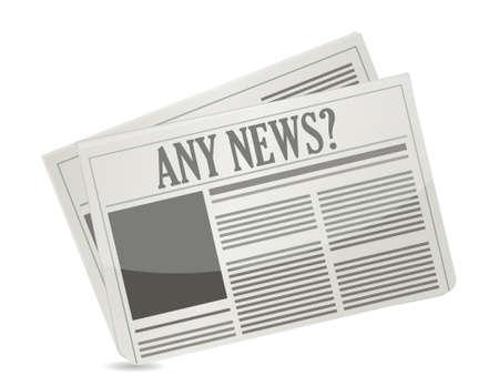 headline: newspapers with headline Any News illustration design Illustration