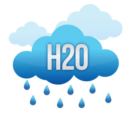h20: drops of water falling from the clouds illustration design Illustration