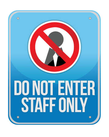 Staff Only Sign Isolated on White Background Stock Vector - 16936403