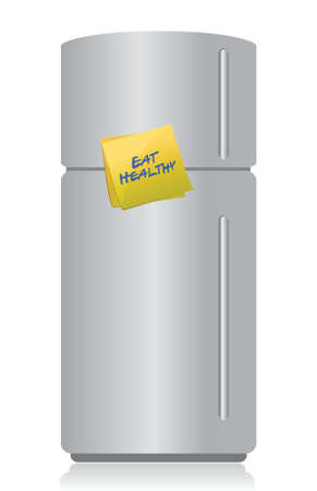 refrigerator with a sticky note and text: eat healthy illustration design Vector