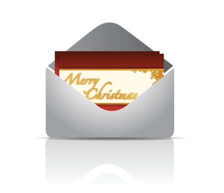 Envelope and red card merry christmas illustration design over white Stock Vector - 16936425
