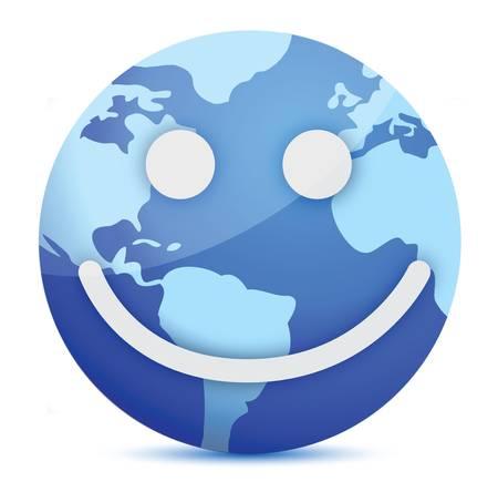 planeta tierra feliz: globo sonriente Tierra ilustración diseño sobre blanco