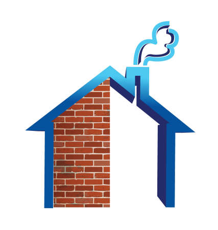brokerage: Real estate house building illustration design over white