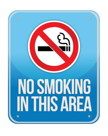 cigaret: Blue Square No Smoking In This Area Sign Isolate on White