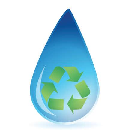 ciclo del agua: Gota de agua con el símbolo de reciclaje dentro de ilustración, diseño,