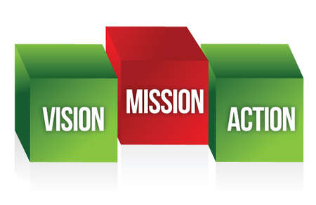 future vision: Vision, Mission and Action to symbolize a business strategy illustration design