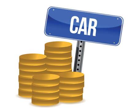 car bills: car savings concept illustration design over a white background