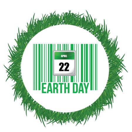 흰색 위에 잔디 디자인에 녹색 바코드와 함께 지구의 날을 그림