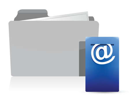 folder with Postbox Icon illustration design over white Stock Vector - 16945343