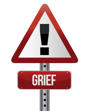 grieving: warning sign with a grief concept illustration design Illustration