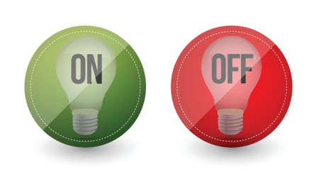light bulb idea on and off illustration design over white Stock Vector - 16945382
