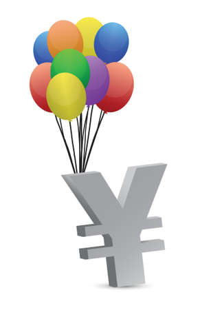 tax policy: yen flying away illustration design over a white background Illustration