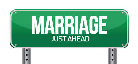 just ahead: Marriage just ahead illustration design over a white background