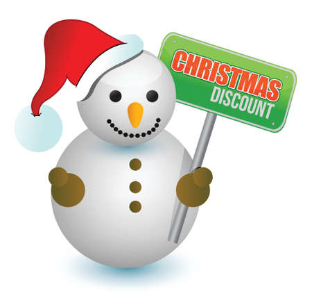 christmas discount snowman sign illustration design over white
