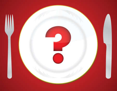 plate of food: Red question mark on white plate illustration design