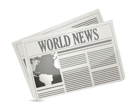 白でグローバル ニュース概念イラスト デザイン