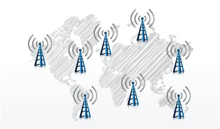 international network: earth map with with wifi symbols all around illustration design