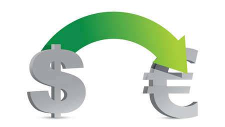 dollar and euro sign illustration design over white Stock Vector - 16960292