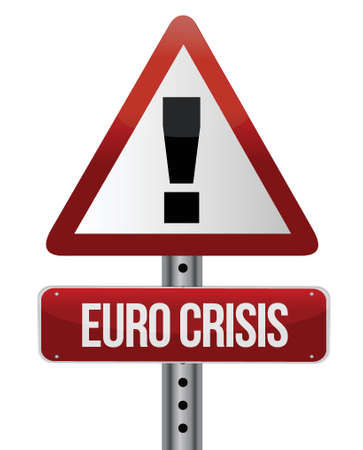 eurozone: road traffic sign with a Euro crisis concept illustration design Illustration