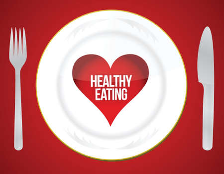 will power: Healthy eating concept illustration design over a red background