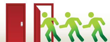 portone: persone in esecuzione in un design aperto, illustrazione, grafico, porta