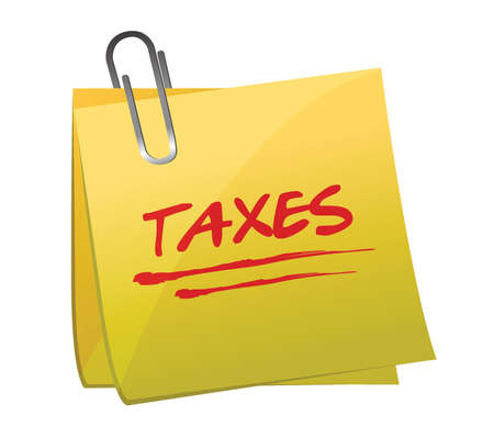 sticky note with text  taxes  illustration design over white