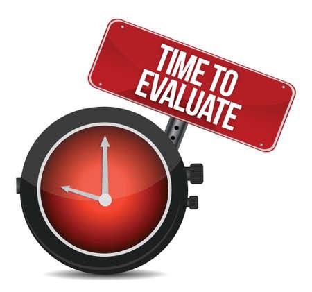 grading: Tiempo para el dise�o Evaluate ilustraci�n del concepto sobre un fondo blanco