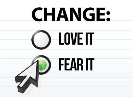 opting: loving or fearing change illustration design over a white background