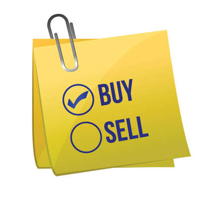 Sell or buy post illustration design over a white background Stock Vector - 16979875