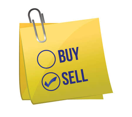 Sell or buy post illustration design over a white background Stock Vector - 16979874