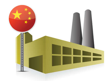 Manufacturing in China illustration design over a white background