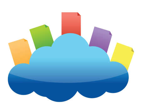 Cloud computing concept with documents in the cloud illustration design Vector