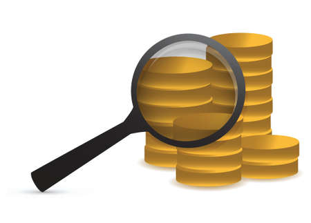 magnifying glass over coins. Illustration design over white Stock Vector - 16979921
