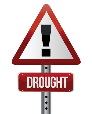 dehydrated: road traffic sign with a drought concept illustration design Illustration