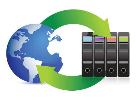 Network Concept  Servers and globe illustration design over white Vector