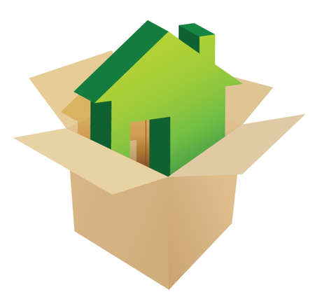 House in the box illustration design over a white background Vector