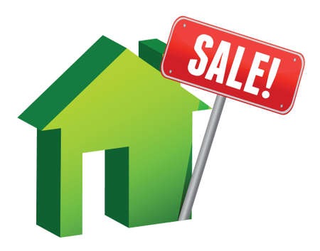 House with sale sign illustration design over a white background Stock Vector - 16979883