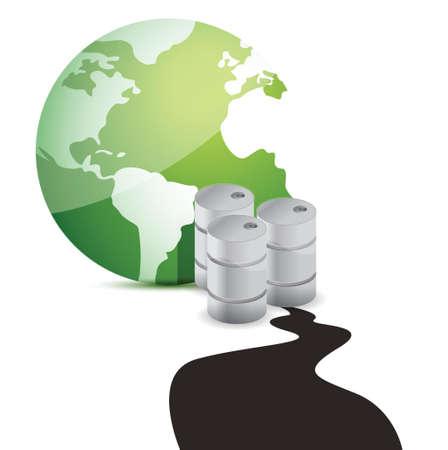 toxic barrels: oil spill over planet over white background. Illustration design