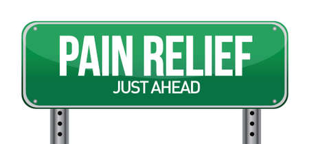 recovery: road traffic sign with a pain relief concept illustration design